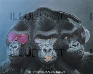 three apes: see no evil. speak no evil, hear no evil