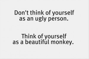... an Ugly Person,Think of Yourself as a Beautiful Monkey ~ Funny Quote
