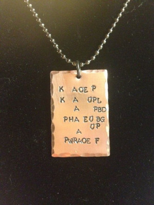 Hand stamped necklace for court reporters - Keep Calm and Make Up a ...