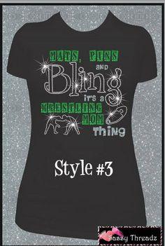 Wrestling Rhinestone Tee by SassyThreadzBling on Etsy, $30.00