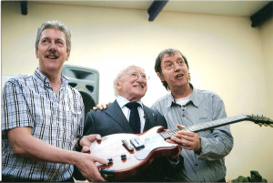 ... Travers, The President of Ireland Michael D. Higgins and Johnny Fean