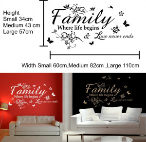 Details about Family Inspirational Wall Quote vinyl sticker quote home ...