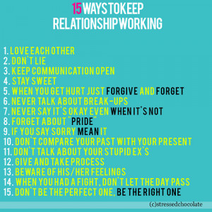 15 Ways to keep Relationship working.