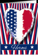 Police Officer Thank You, Hero Quote, Patriotic Heart card - Product ...