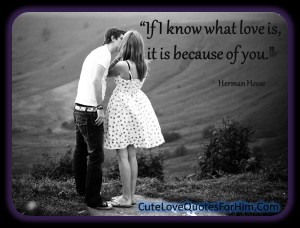 If I know what love is, it is because of you.""