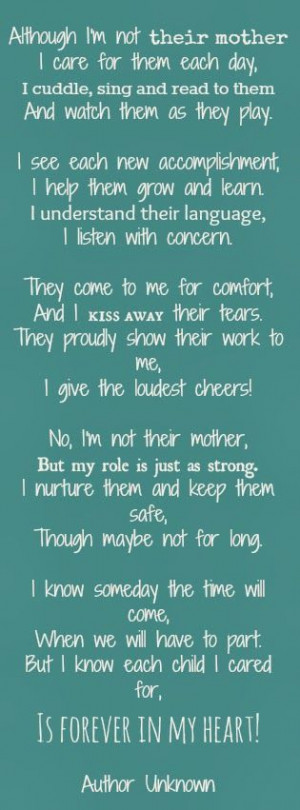 Forever in my heart - author unknown, but I love it! #fostercare love!
