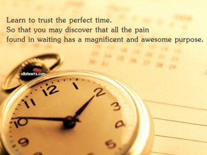 Home » Quotes » Learn To Trust The Perfect Time…