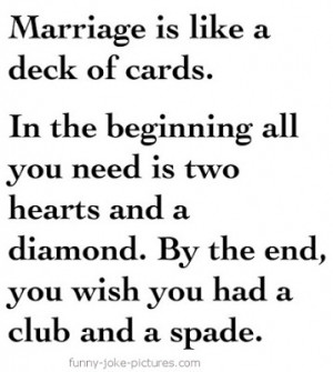 Funny Marriage Is Like A Deck Of Cards Quote Meme