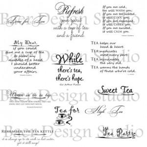 Tea DIGITAL QUOTES, Word Art about TEA, Tea Party png Quotes, Tea ...