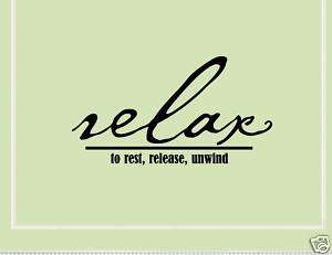 RELAX TO REST, RELEASE, Vinyl Wall Lettering Quotes Art