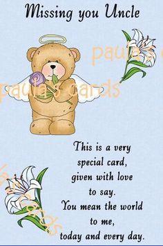 KEEP SAKE IN LOVING MEMORY GRAVE CARD ANY RELATVE POEM uncle