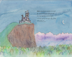 Faerie Castle with Yeats Quote print