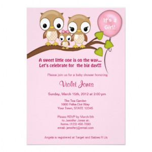 Owl Baby Shower Invitations Girl Mommy Daddy from Zazzle.com