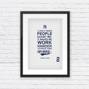 Derek Jeter #2 New York Yankees Inspirational Doubt Quote Poster Print ...