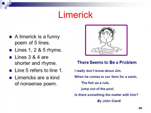 ... limerick is a funny poem of 5 lines. Lines 1, 2 & 5 rhyme