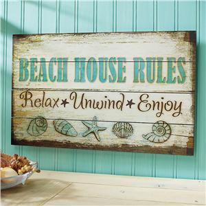 Beach House Rules Wooden Plaque – Decorative Accents | Lillian ...
