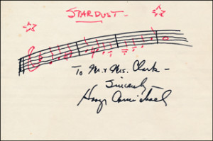Autographs: HOAGY CARMICHAEL - INSCRIBED AUTOGRAPH MUSICAL QUOTATION ...