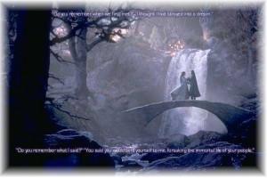 Arwen and Aragorn-bridge by Luthien-Undomiel-