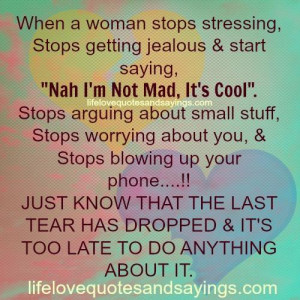 When A Woman Stops Stressing..