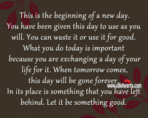 This The Beginning New Day