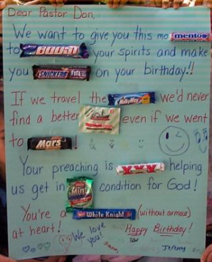 Candy Bar Card for Pastor Don