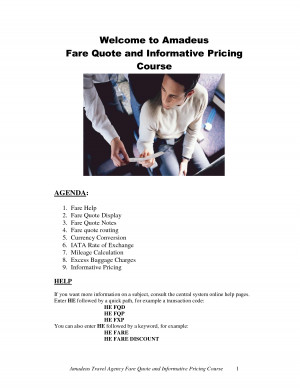 Welcome to Amadeus Fare Quote and Informative Pricing Course by gdf57j
