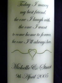 Personalised Wedding Unity Candle Inscription -amp; Verse - Marriage ...