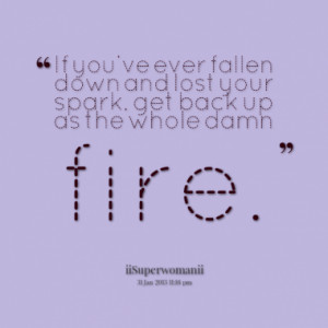 ... fallen down and lost your spark, get back up as the whole damn fire