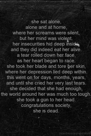 depression suicide self harm cutting poem