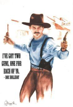 Doc Holliday, hand drawn...2-guns on Etsy, $24.00
