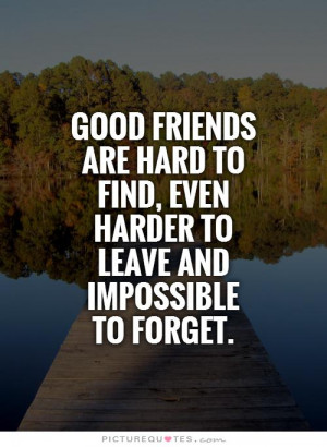 Good friends are hard to find, even harder to leave and impossible to ...