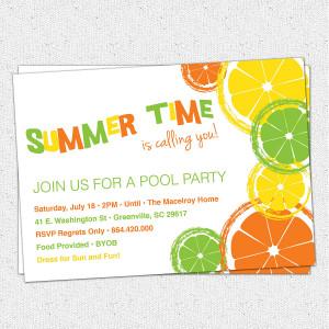 Citrus Invitations, Summer, Pool Party, Lemon, Lime, Orange, Birthday ...