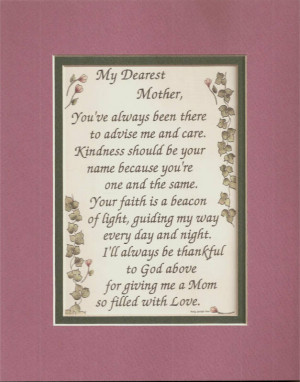Kindness MOTHERs Moms LOVE FAITH poems verses plaques