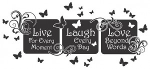 ... Laugh-Love-Floral-Mural-Quote-Vinyl-Wall-Art-Decal-Sticker-Home-Decor