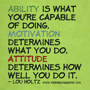 Attitude quotes, motivational quotes, Ability is what you're capable ...