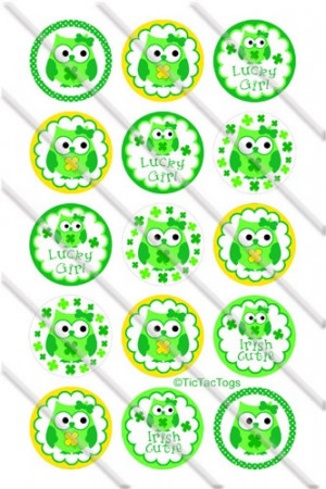 St Patricks Day Owl Sayings Bottle Cap Images Set 1 Inch Circle Digita