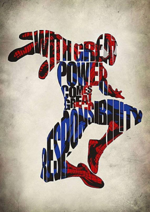 ... . damn neat artwork of the quote and spiderman blending in together