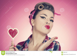 Retro collection: Valentine's day with pin up girl.