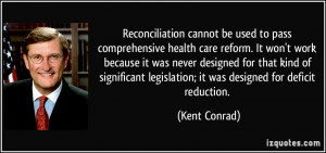 cannot be used to pass comprehensive health care reform. It won't work ...