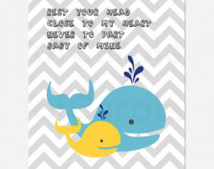 Nursery Whale Wall Art Print, PERSO NALIZED Rest Your Head Close To My ...