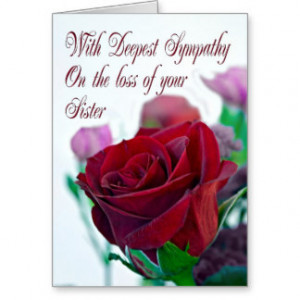 Sympathy on loss of sister, with a red rose greeting cards
