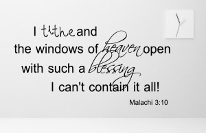 Malachi 3:10 I tithe and...Religious Wall Decal Quotes