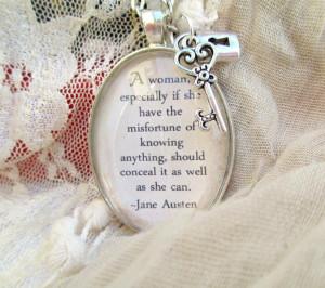 Jane Austen quote pendant