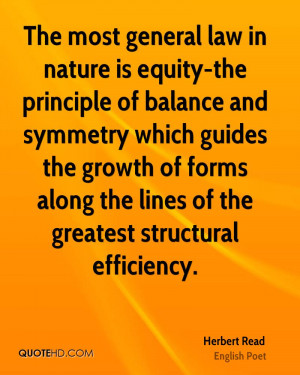 The most general law in nature is equity-the principle of balance and ...