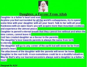 ... daughters, Daughter, a favour from Allah – Famous Daughter Quotes