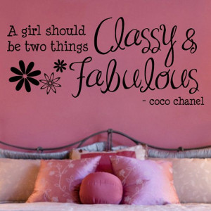 Coco Chanel Classy and Fabulous Quote Wall Decal 13.5