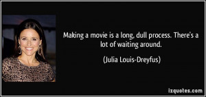 Making a movie is a long, dull process. There's a lot of waiting ...