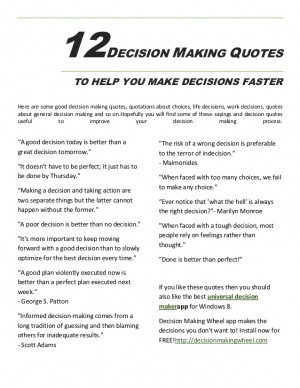 12 Decision Making Quotes To Make Decisions Faster