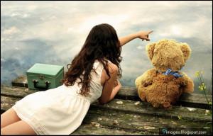 Alone, girl, cute, teddy-bear, beautiful