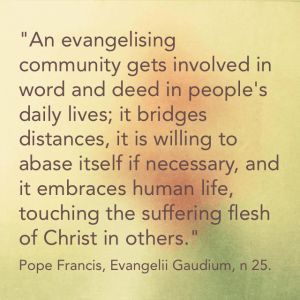 of evangelisation as separate from daily life and human suffering ...
